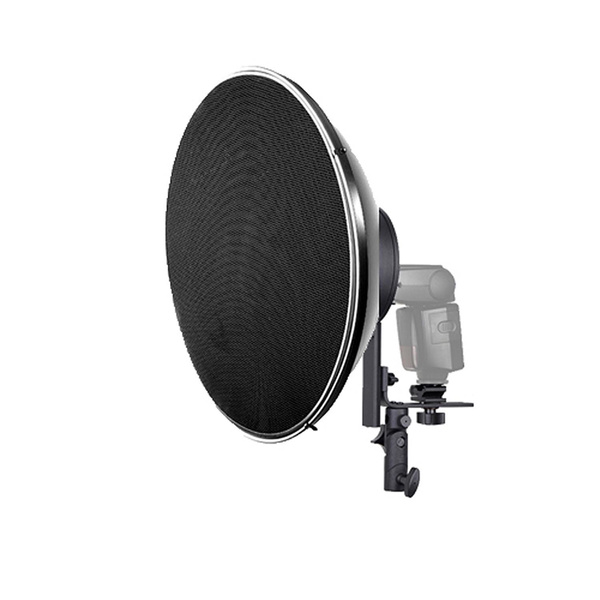 PHOTAREX 4-in-1 Reflector Adapter and Umbrella Holder for Speedlight + Beauty Dish 55cm + Grid
