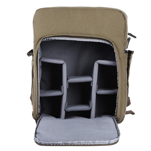 CADEN PUMA-05 Camera Bagpack made of Canvas and PU - green / brown