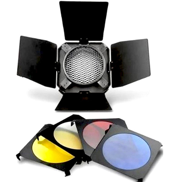 PHOTAREX Reflector Barndoor Kit - 3 Color Filter + Translucent Filter + Honeycomb Grid