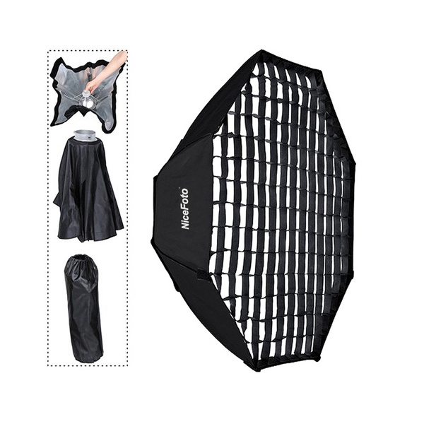 PHOTAREX | NICEFOTO Rapid Set-up Octa Softbox 95cm - deep - with Fabric Grid and Bowens S-Type Mount