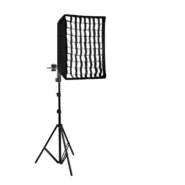 PHOTAREX 4-in-1 Reflector Adapter and Umbrella Holder for Speedlight + Quick Set-up Softbox 60x90cm + Light Stand